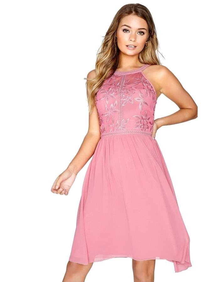 f246c5671 ... LITTLE MISTRESS Ružové midi šaty Chryzantéma. -20% -26%