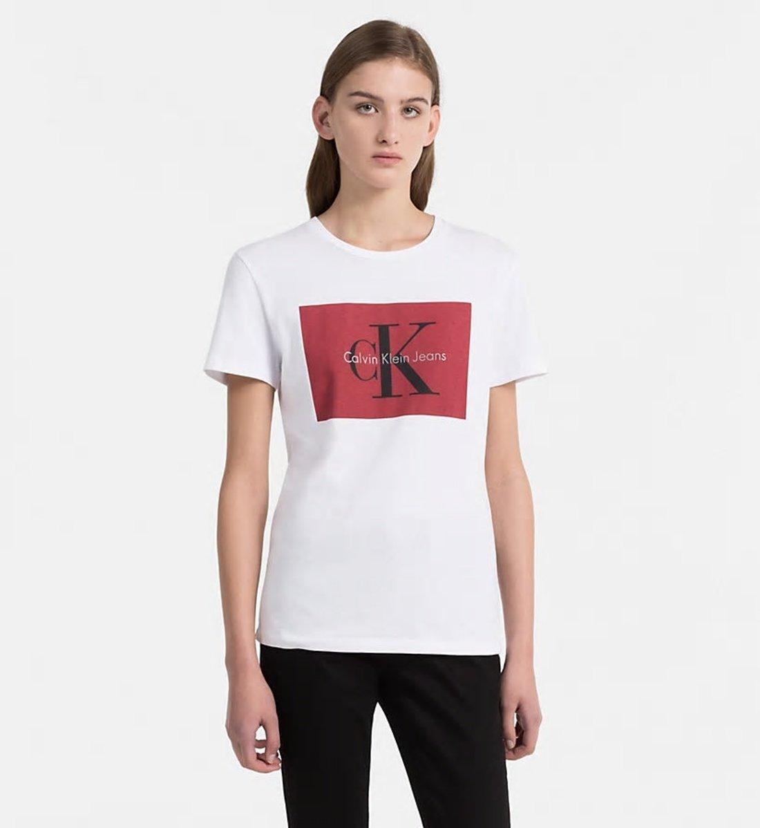 556756a73 Calvin Klein dámske biele tričko s potlačou - Glami.sk