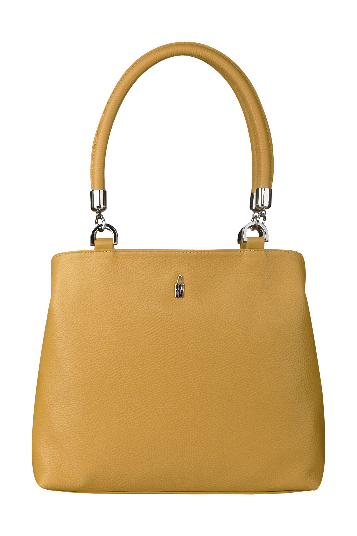 3dbf60d68ecc4 Elegantná kožená kabelka veľká cez rameno žltá Wojewodzic 31769 ...