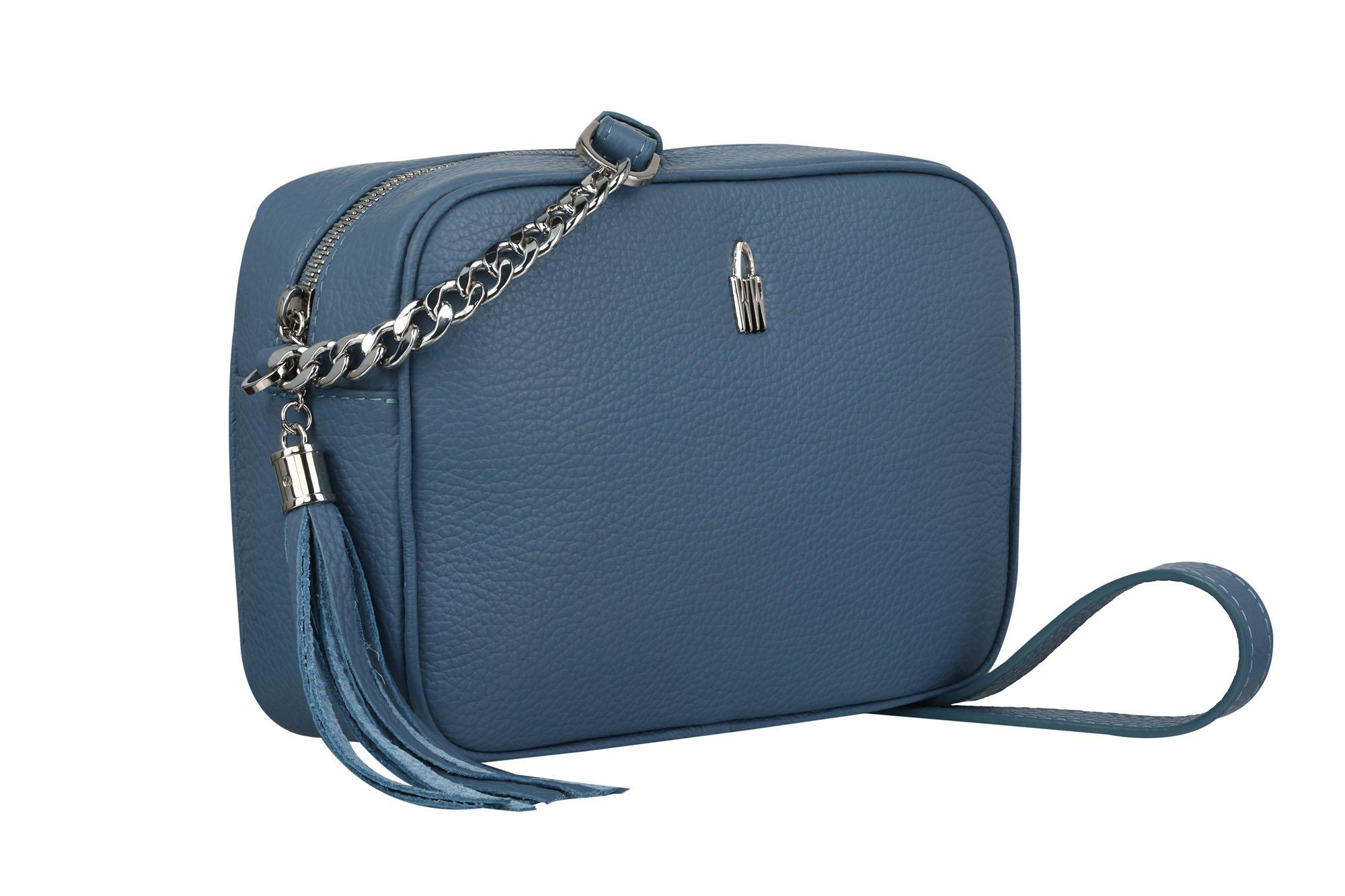 114321f41 Wojewodzic malé modrosivé kožené kabelky crossbody s retiazkou na párty  3176. 1
