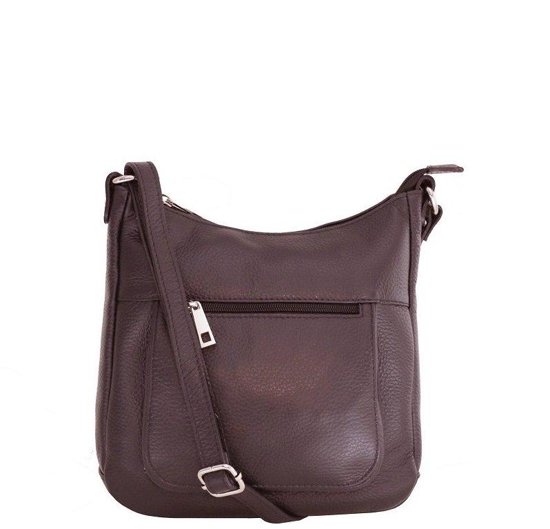 003161a9997db Talianske kožené kabelky dámske cez rameno stredné čokoládové Zolana ...