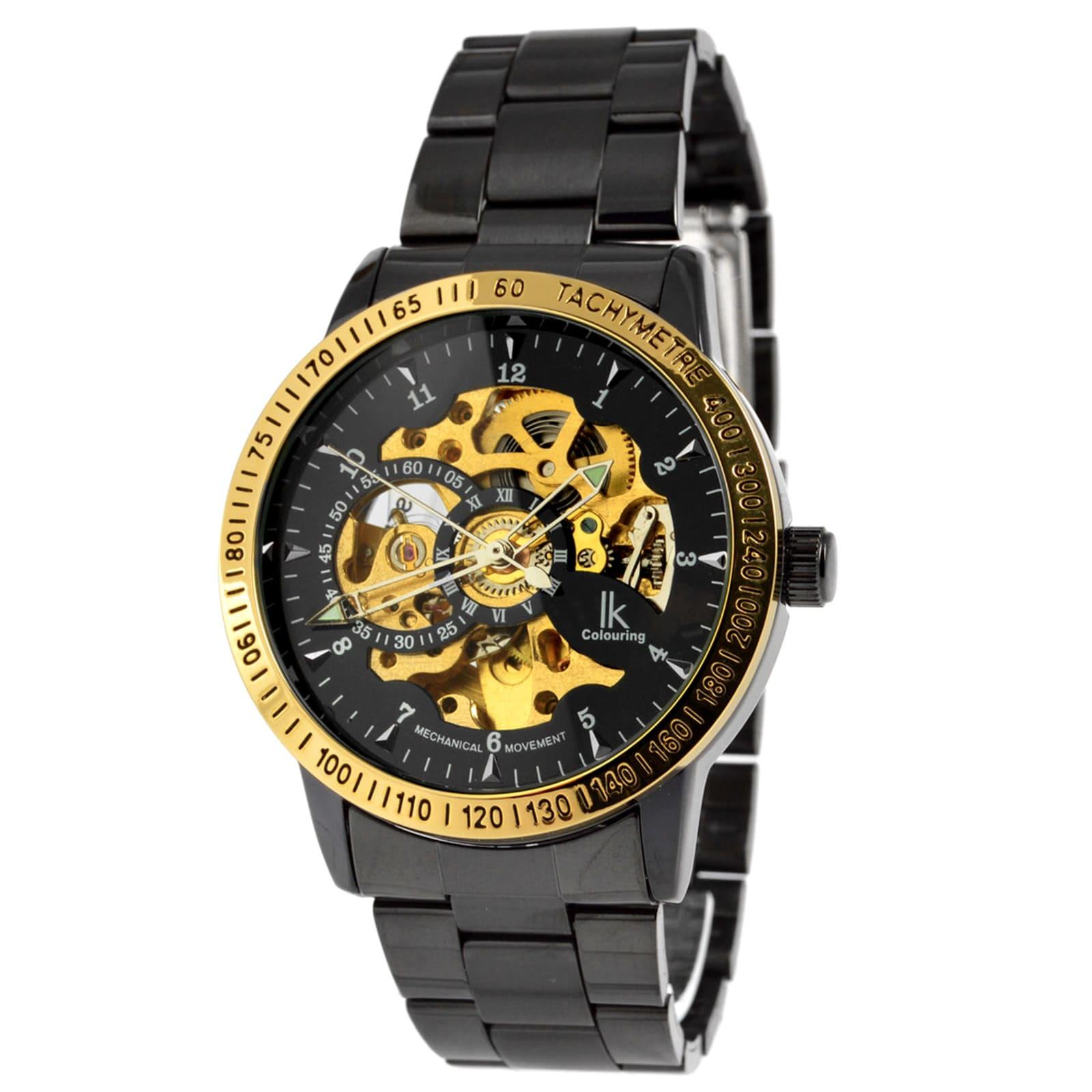 cdfdff429 IK Colouring Čierne hodinky Rolat s lunetou v zlatej farbe - Glami.sk