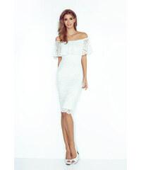 54d75154d MORIMIA Biele čipkované púzdrové šaty s volánom HISPANSKA MM013-1
