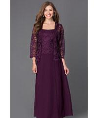 cec8867a3 Glamor Dlhé fialové spoločenské šaty s čipkovaným kabátikom