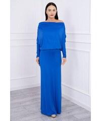 f9782e735 MladaModa Dlhé šaty s lodičkovým výstrihom farba kráľovská modrá