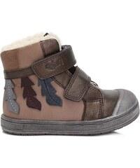 9918439d8e5ac Ponte 20 Dievčenské kožené topánky s listami - hnedé