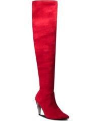 96d7eef8993e8 GlashGirl Červené vysoké čižmy nad koleno na zips - Glami.sk