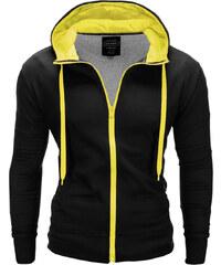 54e3ff6f6847e Ombre Clothing Pánska mikina na zips s kapucňou Vulpeck čierno-žltá