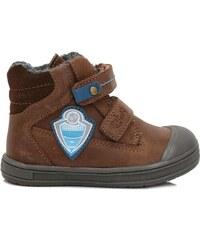 a808730e32c05 Ponte 20 Chlapčenské kožené topánky s futbalovým logom - hnedé