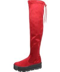 9af03831e9898 OLIVIA SHOES Červené čižmy s vysokou sárou nad kolená na hrubej podošve  DCI029/1