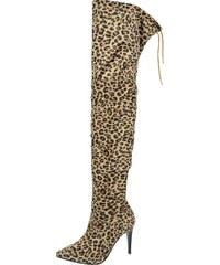17253a0f7fbad OLIVIA SHOES Elegantné čižmy nad kolená s leopardím vzorom DCI2029-950