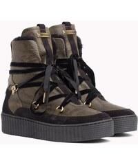 412ff7d60 Tommy Hilfiger khaki kožené topánky Cozy Warmlined Leath s kožušinkou