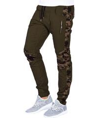 f43581357 Pánske maskáčové nohavice Blaise zelené Ombre Clothing