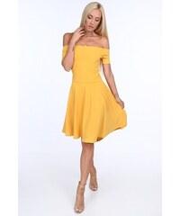67baeb978 FASARDI Žlté dámske šaty so španielskym výstrihom: XL