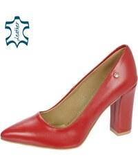 728539ced OLIVIA SHOES Červené kožené lodičky na pohodlnom hrubom podpätku 944-014