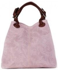 c489bb478ea2c TALIANSKE Talianska dámska veľká kožená kabelka ružová Vanda k denimu