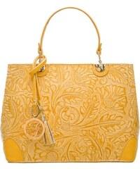 d15b83d04 Glamorous by GLAM Dámska kožená kabelka radenie s kvetmi - žltá