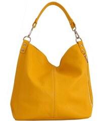 8f9c589d2 TALIANSKE Talianska Veľká kožená kabelka na plece vrecovitá žltá Ludmila