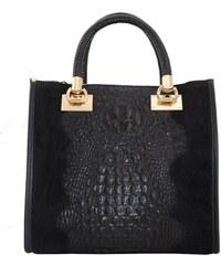 255a132f9 TALIANSKE Talianska pracovná kožená kožená kabelka do ruky čierna Parisa