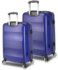e2006e359529c Myvalice Sada 2 modrých cestovných kufrov na kolieskach s USB porty My  Valice LASSO Cabin &