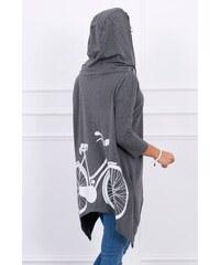 3dfcbebcc MladaModa Mikina s kapucňou s potlačou bicykla na chrbte grafitová