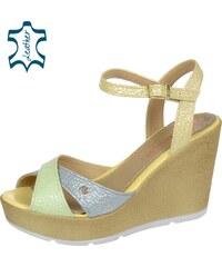 47f988bfa5115 OLIVIA SHOES Zeleno-modré kožené sandále na vysokej platforme DSA056