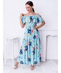 882f3c4bd GlashGirl Modré dlhé kvetované šaty cez ramená s volánom Anastasia