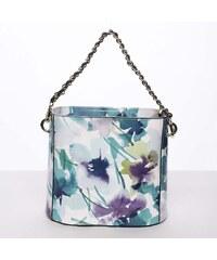 8a74070553db8 Originálna dámska kožená kabelka so vzorom tyrkysová - ItalY Marwa tyrkysová