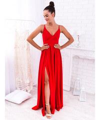 b7b72967e GlashGirl Červené dlhé spoločenské šaty s rozparkami Nina