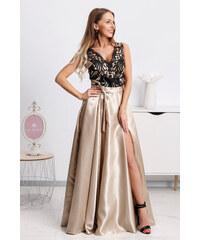 ed478b86a64c5 www.miadresses.sk Zlaté spoločenské šaty s čiernou krajkou