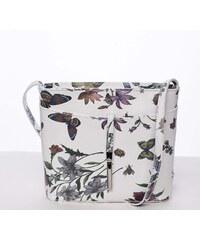 22046ff61824c Dámska kožená crossbody kabelka s kvetmi biela - ItalY Aneta biela
