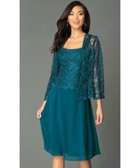 f92e02166 Glamor Krátke spoločenské šaty s čipkovaným kabátikom modrozelenej