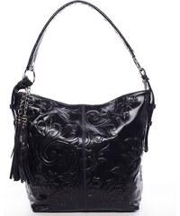 26e03a76c28e3 ItalY Dámska kožená kabelka cez rameno čierna - Italo Heather čierna