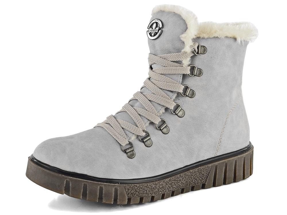 Rieker zateplené členkové topánky s brmbolcami blue Z8678 10