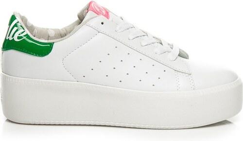 1181fcacf6ab8 Kylie Biele tenisky na platforme so zelenou pätou - Glami.sk