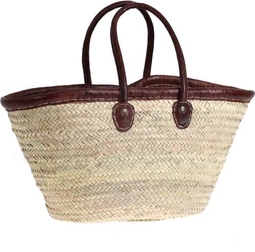 e24f4d987 Košík z palmovej slamy Kbas s koženým lemovaním a rúčkami 087148