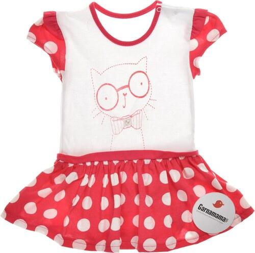 a4f94907a3a35 Garnamama Dievčenské bodkované šaty s mačičkou - červeno-biele ...