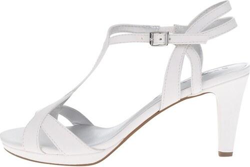 4e6d4bd22 Biele remienkové sandále na podpätku Tamaris - Glami.sk