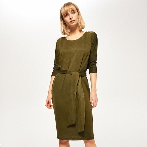 03c687663 Reserved - Elegantné šaty s viazaním v páse - Khaki - Glami.sk