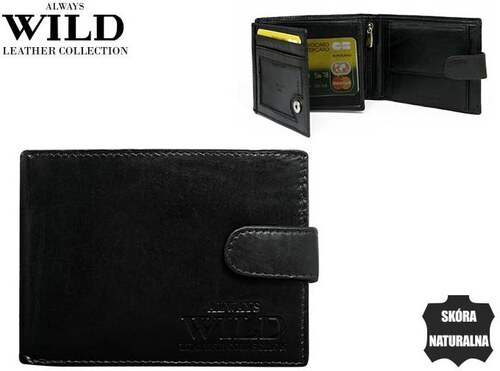 9fcd9da67 ALWAYS WILD Elegentný čierna pánska kožená peňaženka so zapínaním ...
