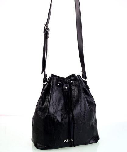 58e521f7b Dámska kožená kabelka cez rameno Kbas so sťahovacím zapínaním čierna ...