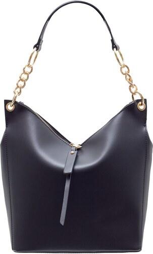 87ebfc27b Glamorous by Glam Dámska kožená kabelka s retiazkou cez rameno - čierna