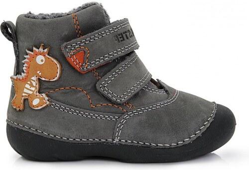 4827a731037c3 D.D.step Chlapčenské zateplené členkové topánky s dinosaurom - šedé ...