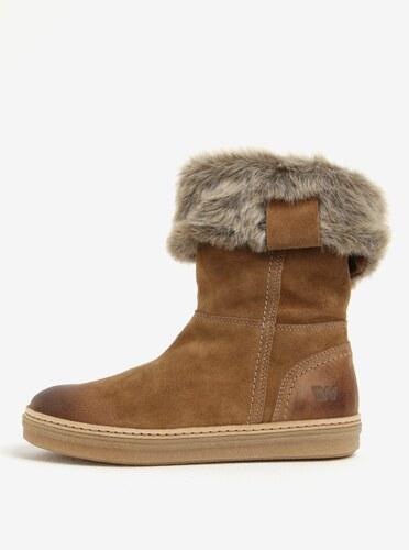 8974efcc90a7f Hnedé dámske semišové zimné topánky Weinbrenner - Glami.sk