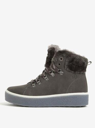 44b09cc5359a9 Tmavosivé dámske členkové zimné topánky na platforme s.Oliver - Glami.sk