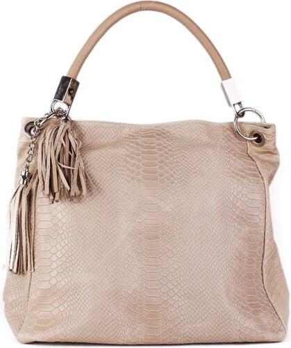 02b1914267276 Talianske kožené kabelky veľké na plece béžové Alessa - Glami.sk