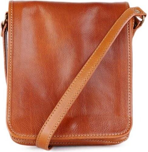 5c3f95e1d7a74 Talianske kožené kabelky pánske cez plece veľké čokoládové Pedro ...