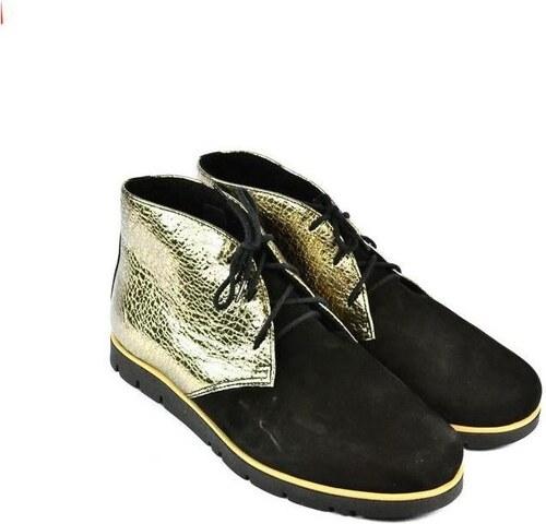 f32ac22a8a636 Carsona Čižmičky Dámske čierno-zlaté kožené topánky ZEFIR Carsona ...