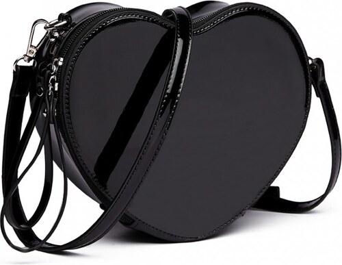 399cd5fb12309 Lulu Bags (Anglie) Čierna menšia crossbody dámska kabelka v tvare srdca Miss  Lulu