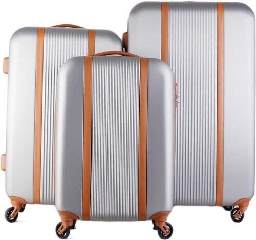 c15ea857ef68c Talianske cestovné kufre sada 3 kusov strieborné Turíno silver cw555 ...